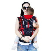 ZUOAO Premium Baby Sling Carrier ,Cotton Ergonomic 360 Baby Wrap Carrier Backpack Sling with Hip Seat and Hood,Super Breathable,Flexible Position for Newborns,Infants,Toddlers to 23kg,Blue and Red