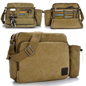 Men's Canvas Weekender Messenger Bag for Travel Crossbody Sports Over Shoulder Vintage Military Overnight Casual Cross Body Side Beach Pack Bag + Removable water bag