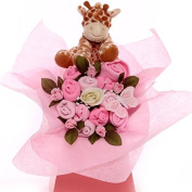 Baby bouquet with a giraffe rattle for a baby girl