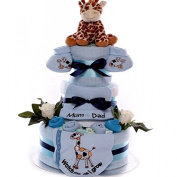 Watch Me As I Grow 3 Tier Nappy Cake For A Baby Boy, Large Nappy Cake Baby Boy, Nappy Cake New Baby Gift,
