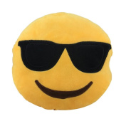 1 PC Omiky® Round Emoji Soft Plush Yellow Cushion Pillow for Car Home Office,{25Cm/9.8 Inch}