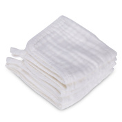 GHB Baby Bath Towels Toddler Towels Baby Washcloths Muslin Cotton 6-Pack White