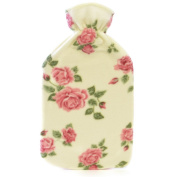 Kids Quality Soft Floral Fleece Covered Natural Rubber Hot Water Bottle Cream