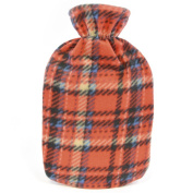Kids Quality Soft Cheque Fleece Covered Natural Rubber Hot Water Bottle Coral