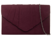 fi9® PLAIN SUEDE PLEATED WEDDING LADIES PARTY PROM EVENING CLUTCH HAND BAG PURSE