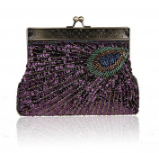 Whoinshop Women Vintage Clutch Teal Peacock Beaded Sequin Evening Handbag Eye Catching Wedding Purse