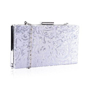 Stunning Silver Sequin Hard Case Book Style Slim Clutch Bag