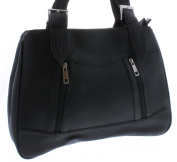 New Ladies/Womens Black Shoulder Bags With Twin Main Compartments. - Black - UK SIZES 1-1