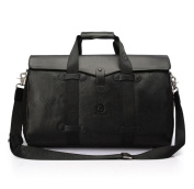 Men's leather bags leather large shoulder hand diagonal business casual laptop bag , black