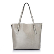 Women's Leather Tote Handbags Purse Fashion Shoulder Bag , light grey