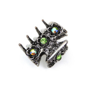 rougecaramel - Crab Metal and Crystal Hair Clip Hair Accessories 3 cm - green