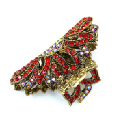 rougecaramel - Crab Metal Gold and Diamante 7.5 cm Hair Clip Hair Accessories - Red