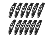 12 Pcs 4.6cm Metal Pure Black Snap Prong Clips Hair Clips Barrettes for Women Girls Hair Bows