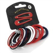 Amber Jewellery 20 Piece Hair Elastic Band & Snap Sleepie Clip Set Red White Blue Black - 28081
