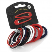 Amber Jewellery 20 Piece Hair Elastic Band & Snap Sleepie Clip Set Red White Blue Black - 28081