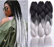Kanekalon Fibre Ombre Xpression Braiding Hair For Box Braids Extensions 165G/Pcs 90cm Black/Grey Ombre Braiding Hair 5 Pieces