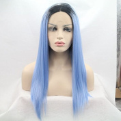 high quality black to blue 2T ombre silky straight synthetic lace front wigs long natural blue straight heat resistant fibre hair with black roots