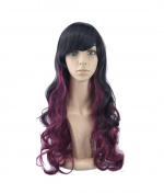 Women's Lolita Long Black Burgundy Cosplay Wigs with Cap
