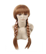 Princess Anna Brown Double Braids Fancy Dress Cosplay Wigs witgh Cap for Women