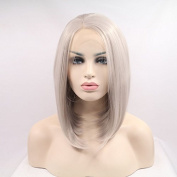 natural look silver grey short silky straight synthetic lace front wig high quality grey bob heat resistant fibre hair wigs