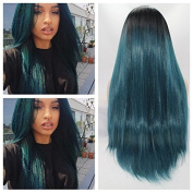 fashion blue ombre silky straight wig with dark roots premium black/blue two tone ombre straight heat resistant synthetic lace front wigs