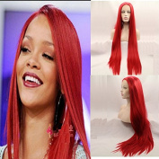 fashion long red silky straight synthetic lace front wigs with heavy density high quality hot red straight heat resistant fibre hair