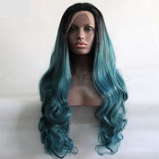 Fashion mermaid green body wave wig with dark roots high quality mix green synthetic lace front wigs heat resistant fibre hair