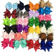 25 Colours 10cm Girls Grosgrain Hair Cheer Bow With Alligator clip