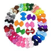 35pcs 6.4cm Grosgrain Ribbon Hair Bows Clip for Baby Hair Accessories