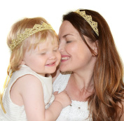 Mom And Baby Golden Crown Design Headband Elastic Headband Photography Headbands for Toddler Kids and Mommy 2Pcs