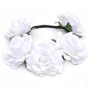 Merssavo Lovely Rose Flower Crown Jewellery Hollow Elastic Hairband Headband Garland for Wedding Festivals