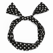 UTOVME Lovely Rabbit Ear Bow Tie Bands Hair Hoop Headband Hairwear Gift,Black and White