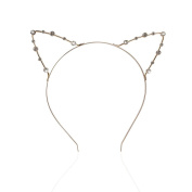 Veewon Fashion Hairbands Crystal Pearl Shot In Cat Ears Child Adult Hair Bands