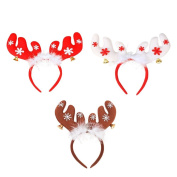 Drasawee Lovely Antlers Head Hoop Christmas Feather Headband Party Hair Accessory 3PCS