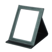 Rnow Deluxe PU Leather Desktop Large Makeup Cosmetics Personal Beauty Folding Mirrors Green