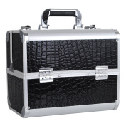 HST Large Black Faux Crocodile Aluminium Vanity Make-up Cosmetic Box Case for Nail Hair Salon Jewellery with 4 Long Tray / Clasp Lock with Keys