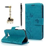 Galaxy Core Prime Case,Samsung G360 Case - Badalink Embossed Wallet Premium PU Leather with Fashion Flowers Butterfly Flip Cover with Hand Strap & 3D Cute Elephant Dust Plug & Stylus Pen - Blue