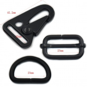 "5 Pcs 1"" 25mm D ring Olecranon Hook Sling Clips Triglides Spring Gate Snap for Webbing Strap Buckles NickelBlack"