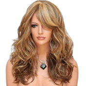 Women's Fashion Long Curly Anime Hair Brown Wave Cosplay Wig Multicoloured