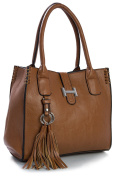 Big Handbag Shop Womens Faux Leather Medium Size Satchel with Make up Pouch Bag