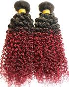 YAMI 4 Bundles Brazilian Curly Weave Ombre 2 Tone Black Burgundy 100G Original Human Hair 7A Jerry Curl Virgin Brazilian Hair 1B BUG