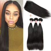 YIZE Hair Malaysian Straight Human Hair Weave 3 Bundles with Straight Closure 44 Free Part Natural Black Colour 18 20 22+41cm