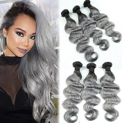 ATOZHair Omber Black T Grey 100% 7A Brazilian Virgin Hair Unprocessed Extensions Body Wave Human Hair 6 Bundles 50G/Bundle 300Gram in total