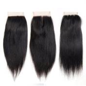 Flady Hair Brazilian Straight Hair Closure 4x4 Free Part Lace Frontal Closure 7A Virgin Hair Weave Closure with Bleached Knots Brazilian Hair Weave Natural Colour