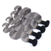 Carina Hair 1B/ Grey Ombre Human Hair Bundles 4 Extensions Mixed Length Dark Roots