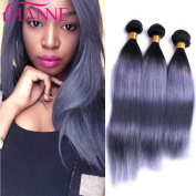 HANNE 3Pcs Ombre Grey Hair Extensions Smoky Grey Human Hair 7A Brazilian Straight Hair 1B Grey Human Hair Weaves