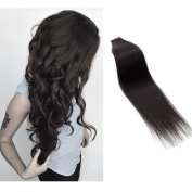Myfashionhair Tape In Human Hair Extensions 46cm Natural Black 20pcs 40g Set Silky Straight Skin Weft real human remy hair pieces