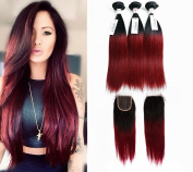 Grace Plus Brazilian Ombre Hair Bundles with Closure Silky Straight Remy Hair 3 Bundles with 4X4 Ombre Lace Closure
