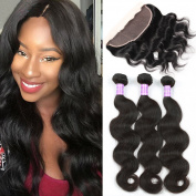 Flady Hair Human Hair Bundles with Lace Frontal Closure Brazilian Body Wave 3 Bundles with 13×4 Free Part Lace Frontal Closure Bleached Knots 7A Grade Natural Colour