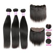 Flady Hair Virgin Brazilian Hair 3 bundles with 13x4 Free Part Brazilian Hair Closure 7A Unprocessed Brazilian Hair Weave Straight Hair with Closure Natural Colour Lace Frontal Closure